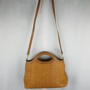 Fossil bag tan basket weave cross body